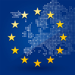 European Union flag with a map of dots in the background