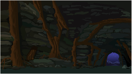 background stone cave with trees
