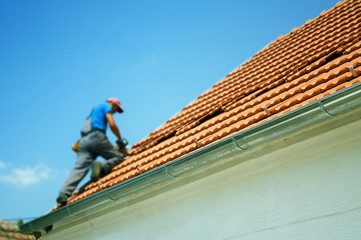 Construction worker on the roof