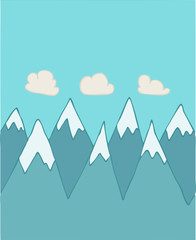 Mountain range vector illustration, hand-drawing