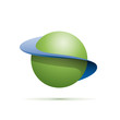 Vector logo abstract shape of sphere with orbits