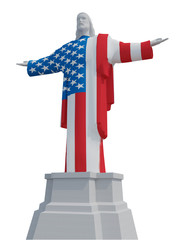 Christ the Redeemer colored with USA flag and soccer bal