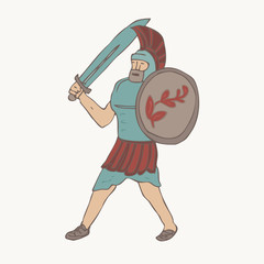 Spartan . Cartoon Spartan . vector illustration, hand drawn