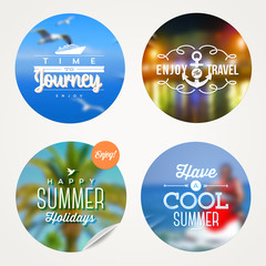 Summer holidays and  vacation - set of sticker with type design
