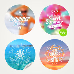 Summer holidays and vacation set of sticker with type design
