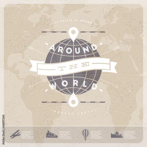 Around the world - travel vintage type design