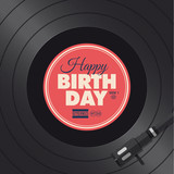 Happy birthday card. Vinyl illustration vector design
