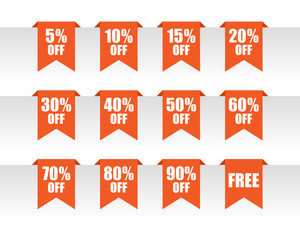 Orange discount paper tag labels