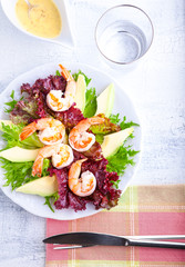 Avocado shrimp salad with mustard sauce