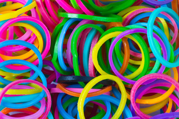 close up of elastic loom bands