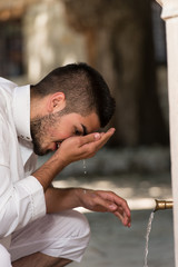 Islamic Religious Rite Ceremony Of Ablution Nose Washing