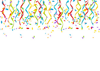 Color party ribbons on white background