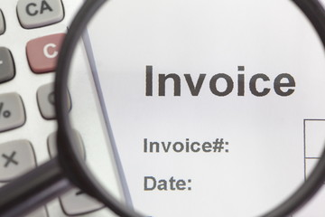 close - up on invoice business paper work