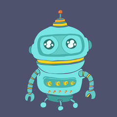 Robot Vector illustration, hand drawn