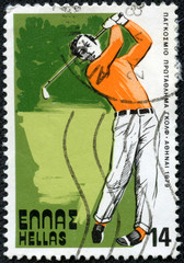 stamp printed by Greece, shows golf