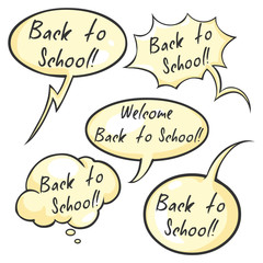 Vector Set of Cartoon Bubbles - Back to School