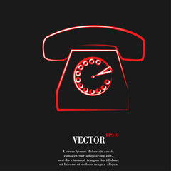 Retro telephone. Flat modern web butto