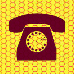 Retro telephone. Flat modern web button
