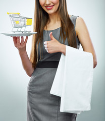 Business woman selling concept isolated portrait. Thumb up show