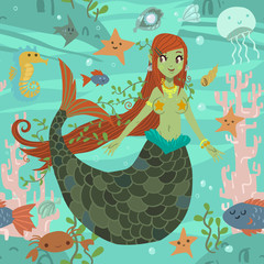 Cute awesome mermaid princess pattern.
