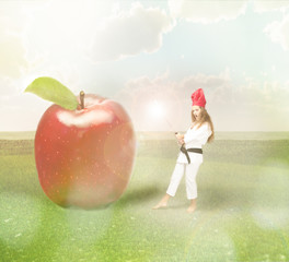chef versus red apple