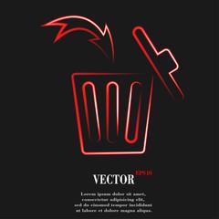 Trash bin. Flat modern web button