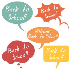 Vector Set of Color Flat Bubbles - Back to School