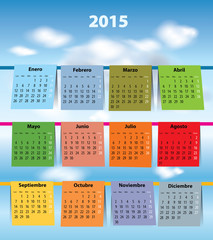 Colorful Spanish calendar for 2015