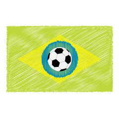 Football soccer ball on brazil flag. Scribble effect. Flat