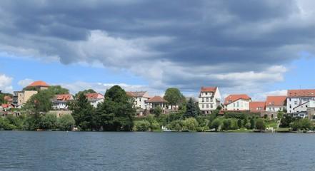 Blick über den Straussee auf Strausberg