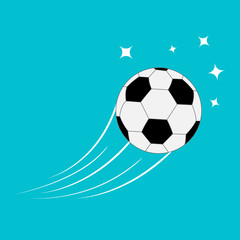 Flying football soccer ball with motion trails stars. Blue Flat