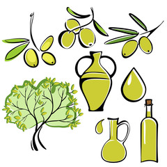 olive and olive oil  icon  set vector  illustration