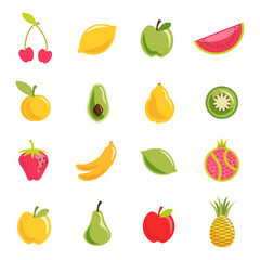 Fruit icon set. Vector