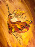 Fototapety Oil painting on Canvas, Fire ballerina