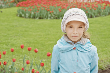 pretty little girl in tulip park