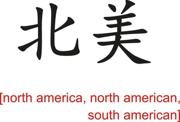 Chinese Sign for north america, north american, south american
