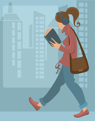reading girl, vector background
