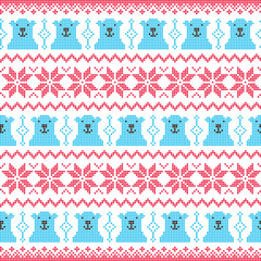 Winter, Christmas red and bear seamless pattern with polar bears