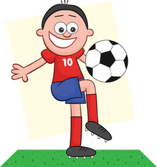 Cartoon Soccer Player Playing