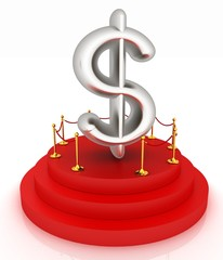 Dollar sign on podium. 3D icon on white background