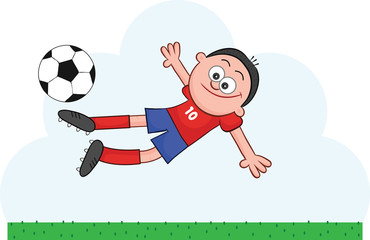 Cartoon Soccer Player Flying to Kick
