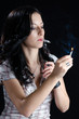 Woman Lighting Up a Cannabis Joint