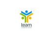 Team work vector logo design. Internet teamwork concept