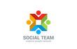 Social network vector logo design. Internet Team work
