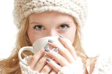 Young woman holding a mug
