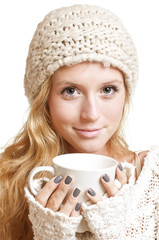 Young woman holding a mug