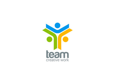 Team work vector logo design. Internet teamwork concept