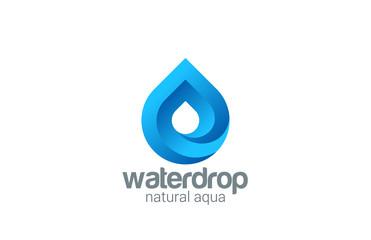 Water drop abstract infinite looped vector logo design