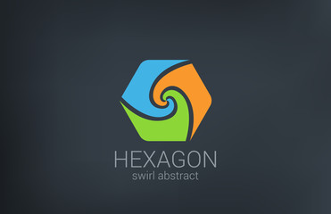 Hexagon Spiral vector logo design. Triple Infinite loop