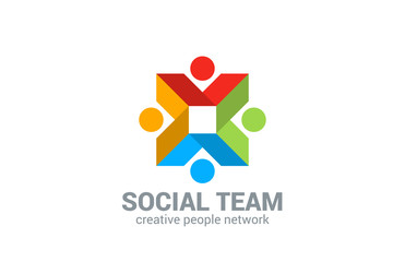 Social network vector logo design. Internet Team work